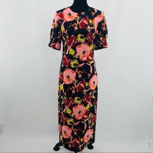 Zara TRF Collection Pink & Black Floral Dress
